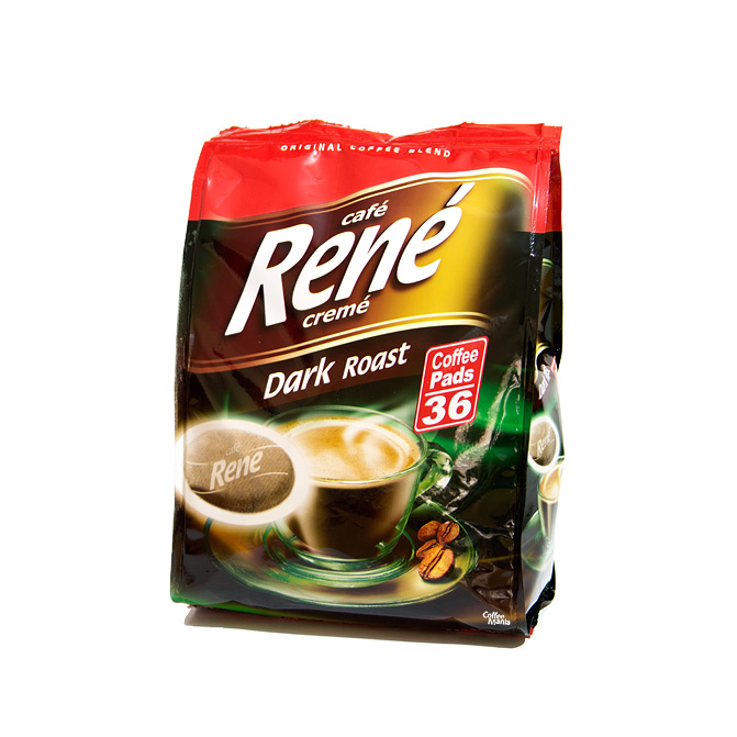 senseo coffee pads by cafe rene dark roast. Black Bedroom Furniture Sets. Home Design Ideas