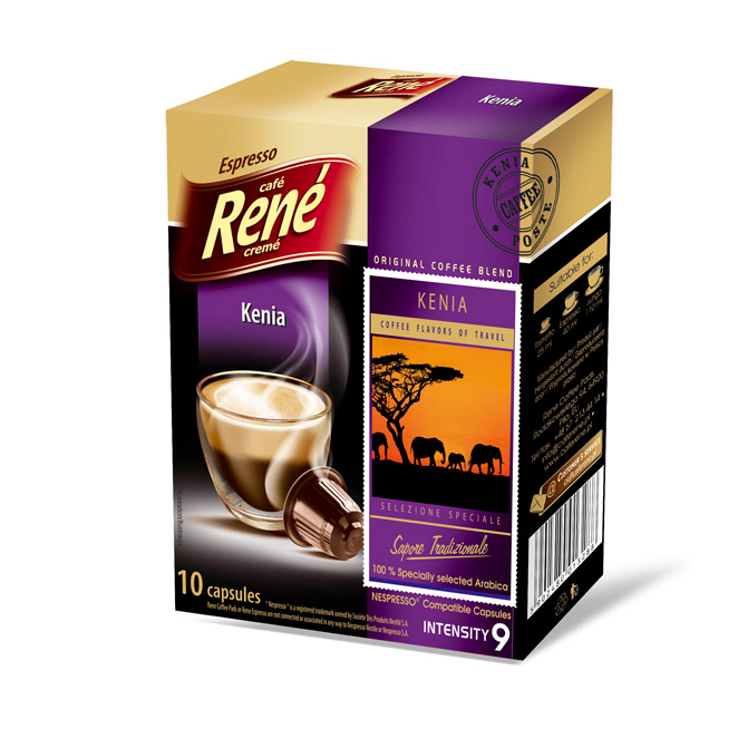 cafe rene kenia coffee capsules for nespresso. Black Bedroom Furniture Sets. Home Design Ideas