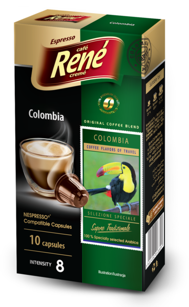 cafe rene colombia coffee capsules for nespresso. Black Bedroom Furniture Sets. Home Design Ideas